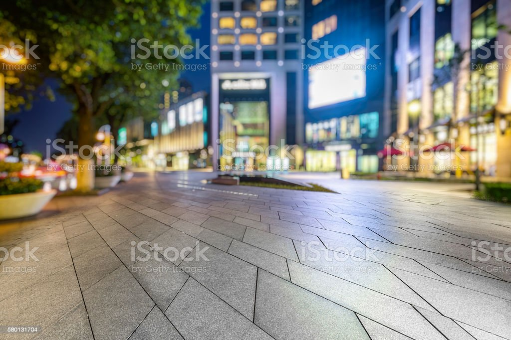 empty square front of shopping mall stock photo
