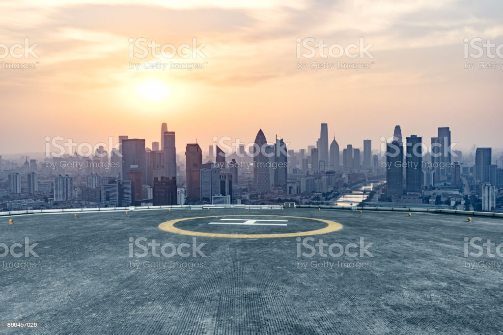 empty square front of tianjin city skyline stock photo