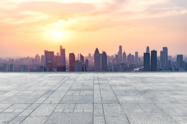 empty square front of tianjin city skyline - foto stock