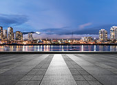 empty square front of vancouver harbor skyline,BC,Canada.