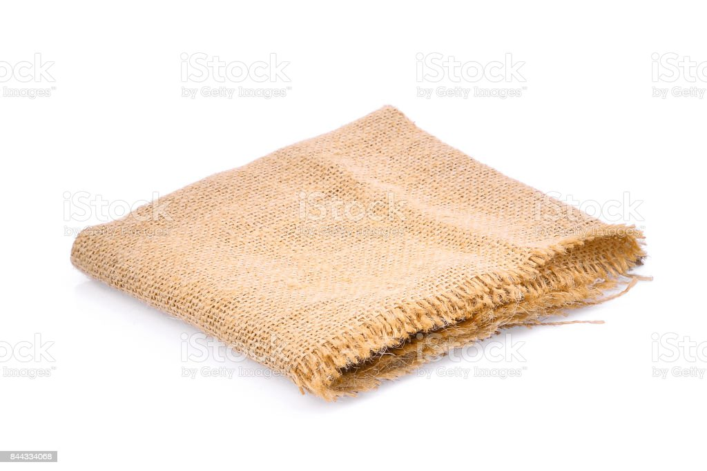empty square sackcloth isolated on white background for your object backbground stock photo
