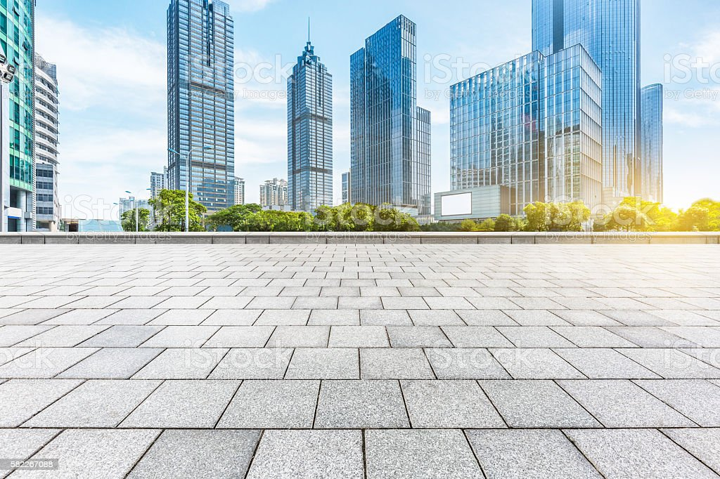 empty square with modern buildings background – Foto