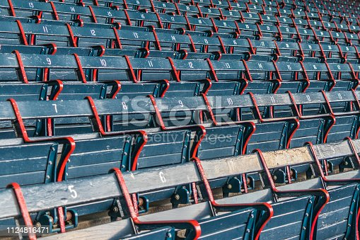 Old seats in the stadium are empty on this particular day