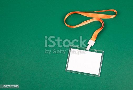 1049305186istockphoto empty staff identity mockup with orange lanyard 1027157480