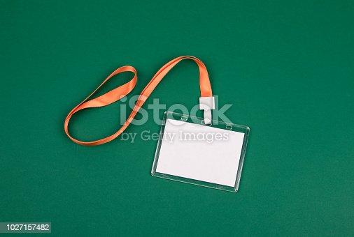 1049305186istockphoto empty staff identity mockup with orange lanyard 1027157482