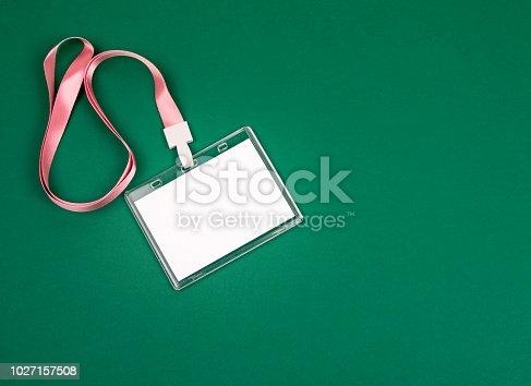 1049305186istockphoto empty staff identity mockup with pink lanyard 1027157508