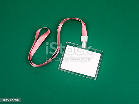 1049305186istockphoto empty staff identity mockup with pink lanyard 1027157546