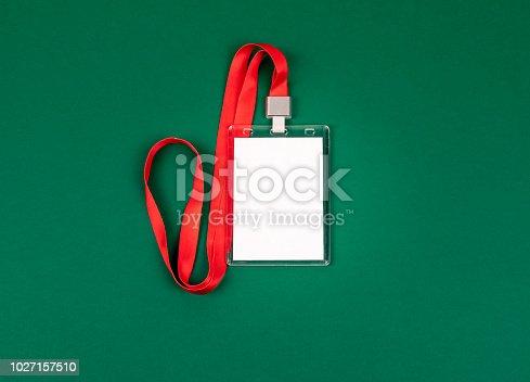 1049305186istockphoto empty staff identity mockup with red lanyard 1027157510