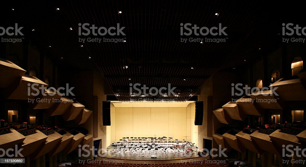 Empty Stage in Concert Hall stock photo