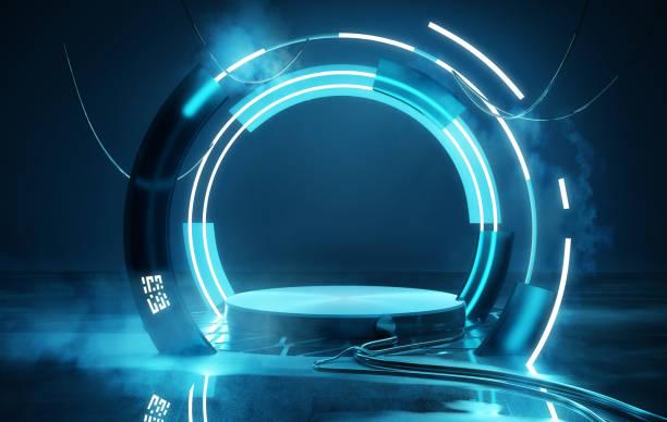 Leere Bühnenbeleuchtung futuristische Neon-Plattform – Foto