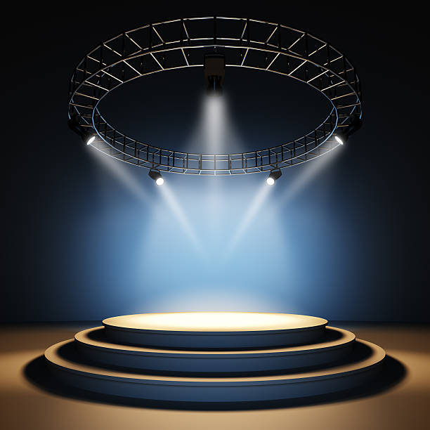 Empty stage. A 3d illustration of empty concert stage illuminated by spotlights.http://arts4art.com/Istock/stages_stands.jpg stage light stock pictures, royalty-free photos & images