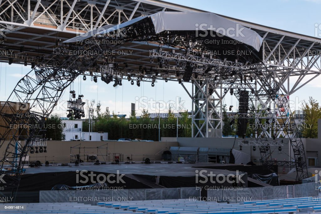 Milano, Italy - september 2015: Empty Stage: Preparation Before A Concert stock photo
