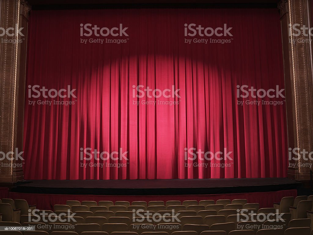 Empty stage with curtains closed royalty-free stock photo