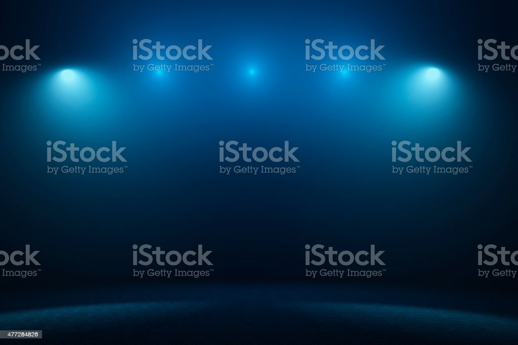 Empty stage with spotlights stock photo