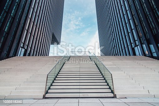 Empty staircase at office buildings area in Düsseldorf, Germany