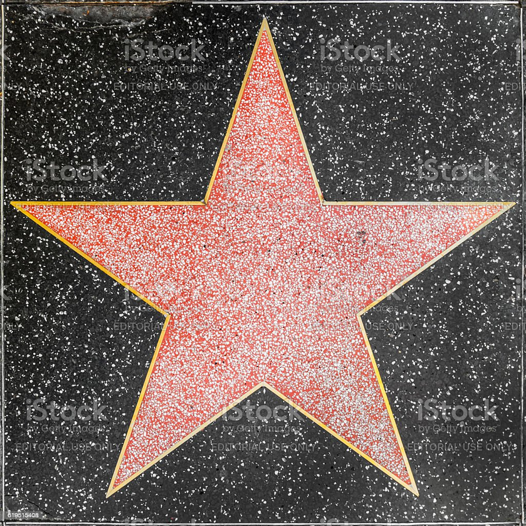 empty star on Hollywood Walk of Fame stock photo