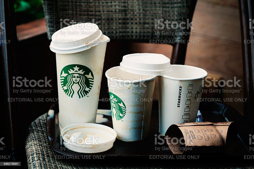Empty Starbucks Paper Cups stock photo