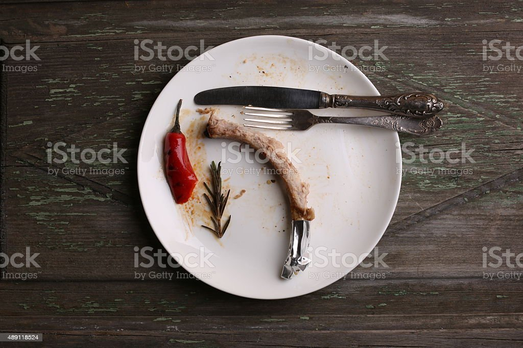 Empty steak dish after food on the wood table stock photo