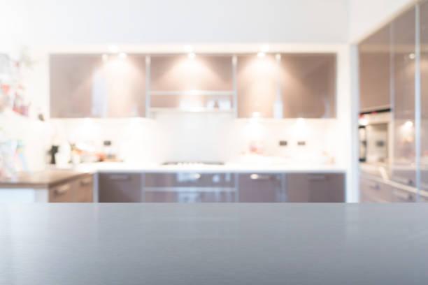 boş çelik üst tablo - ev mutfağı stok fotoğraflar ve resimler