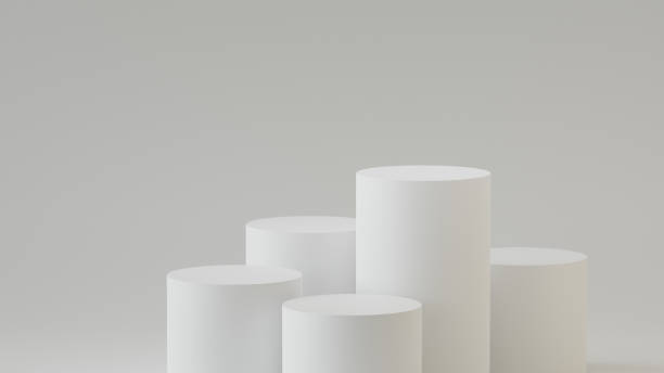 empty steps cylinder podium on empty background. 3d rendering. - cilindro formas geométricas imagens e fotografias de stock