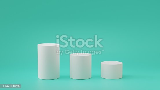 istock Empty steps cylinder podium on empty background. 3D rendering. 1147320289