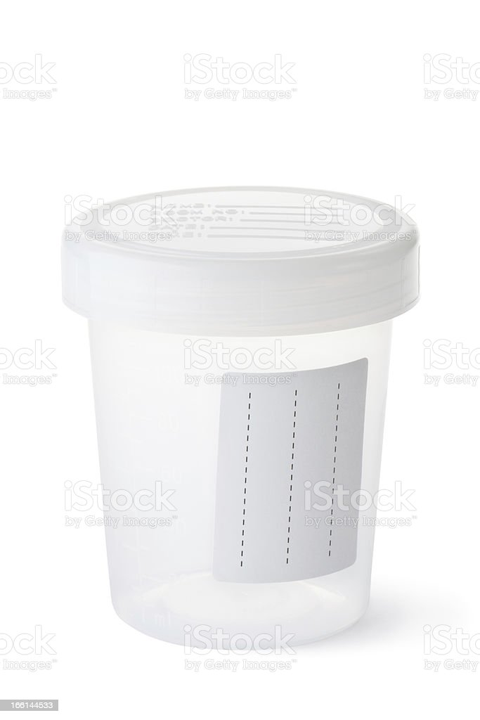 Empty sterile cup for urine sample stock photo