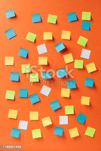istock Empty stickers on a orange background. 1193551449