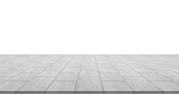 Leerer Steinboden isoliert auf weißem Hintergrund – Foto