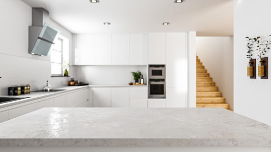Empty white stone kitchen countertop with copyspace. Focus on foreground.