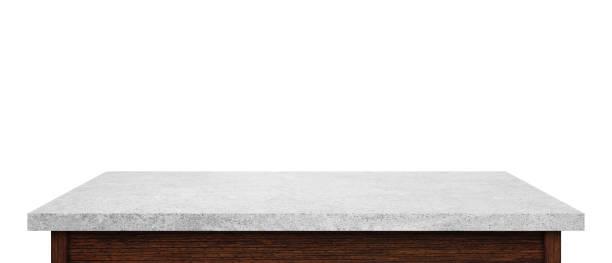 Leere Stein Tischplatte isoliert auf weißem Hintergrund. Für die Anzeige oder die montage Ihrer Produkte. – Foto