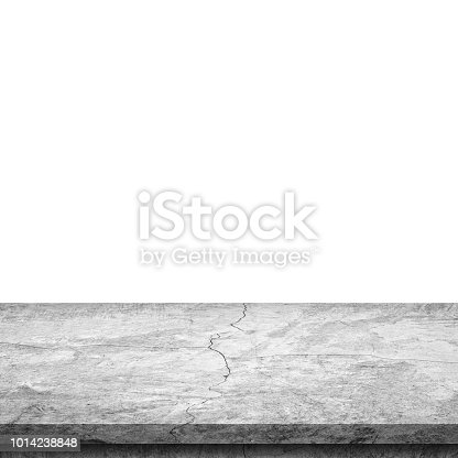 671896388istockphoto Empty stone table top on isolated white, Template mock up for display of product. 1014238848