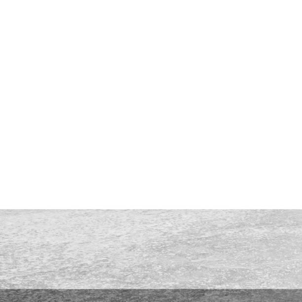 leere stein tischplatte auf isolierte weiß, vorlage mock für die anzeige des produkts. - zement terrasse stock-fotos und bilder