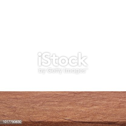 671896388istockphoto Empty stone table top on isolated white, Template mock up for display of product. 1017790630