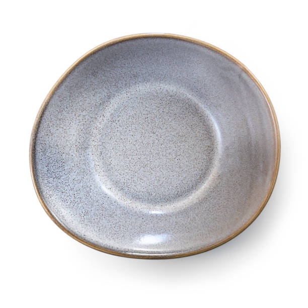 Empty Stoneware Dish Top View Isolated on White stock photo