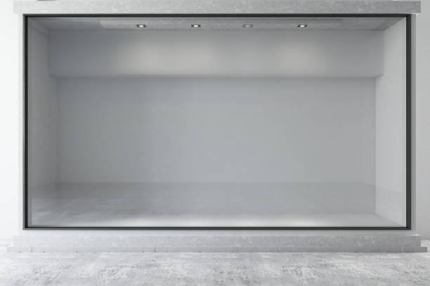 fenêtre vide de magasin - vitrine magasin photos et images de collection