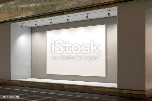 istock Empty store window 897149276