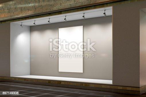 istock Empty store window 897149308