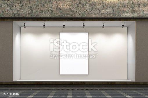 istock Empty store window 897149334