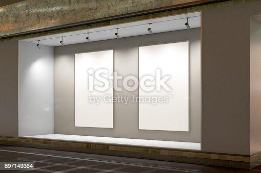 istock Empty store window 897149364