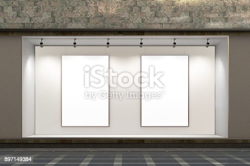 istock Empty store window 897149384