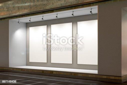 istock Empty store window 897149408