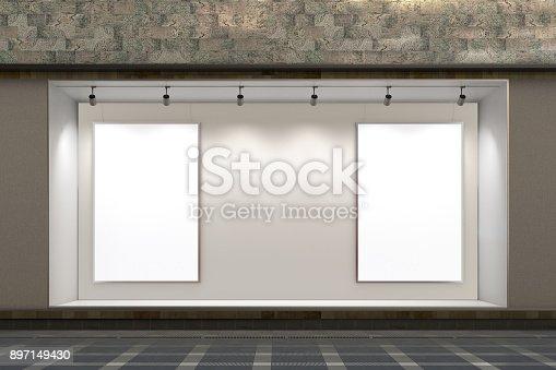 istock Empty store window 897149430