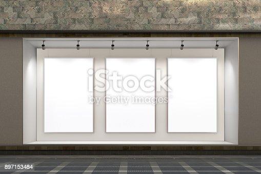 istock Empty store window 897153484