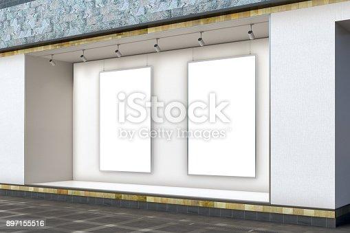 istock Empty store window 897155516