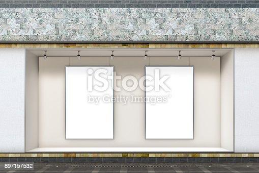istock Empty store window 897157532