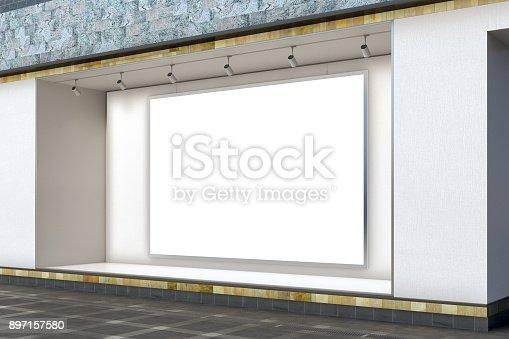 istock Empty store window 897157580