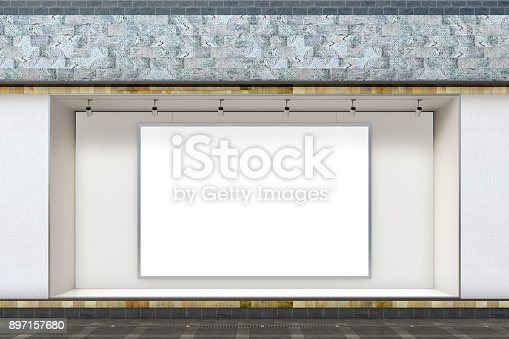 istock Empty store window 897157680