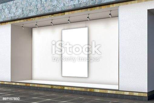istock Empty store window 897157850
