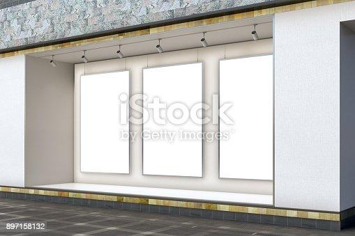 istock Empty store window 897158132
