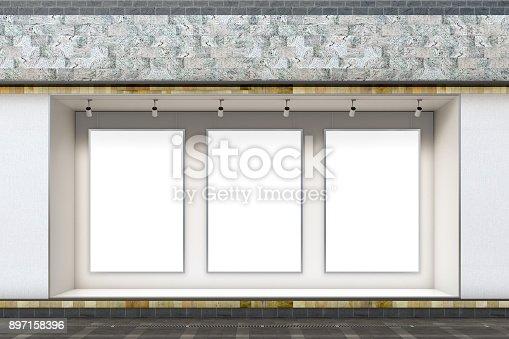 istock Empty store window 897158396